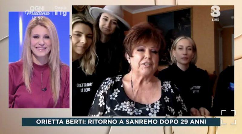 Orietta Berti in diretta con Adriana Volpe a OGNI MATTINA svela gli outfit di stasera e domani sera che indosserà sul Palco dell'Ariston | VIDEO